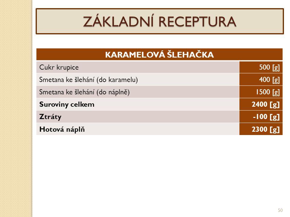 ZÁKLADNÍ RECEPTURA KARAMELOVÁ ŠLEHAČKA Cukr krupice 500 [g]